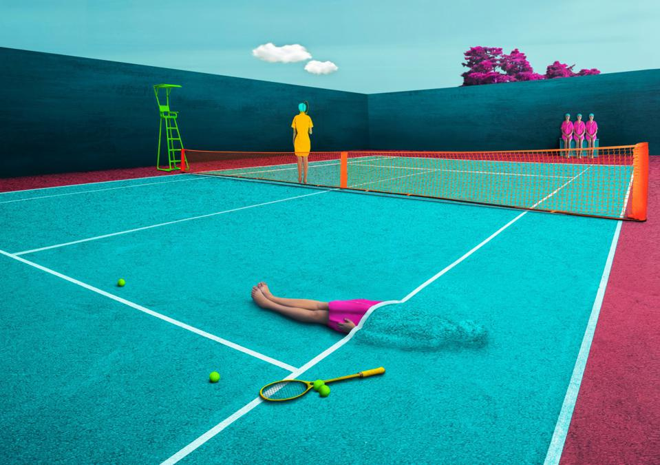 A surreal representation of a tennis court.
