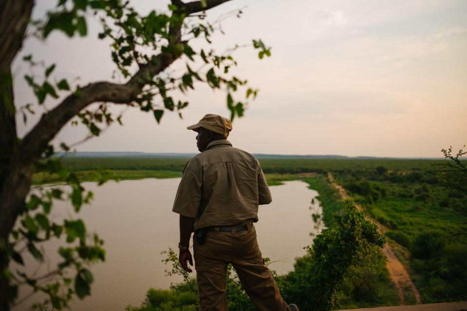 Isaia Byele, a ranger overlooking watering hole at Venetia Limpopo Nature Reserve, part of the Diamond Route, South Africa.