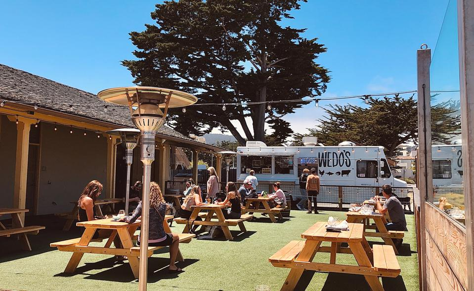 The back patio of Dust Bowl Brewing Co. Monterey, CA.