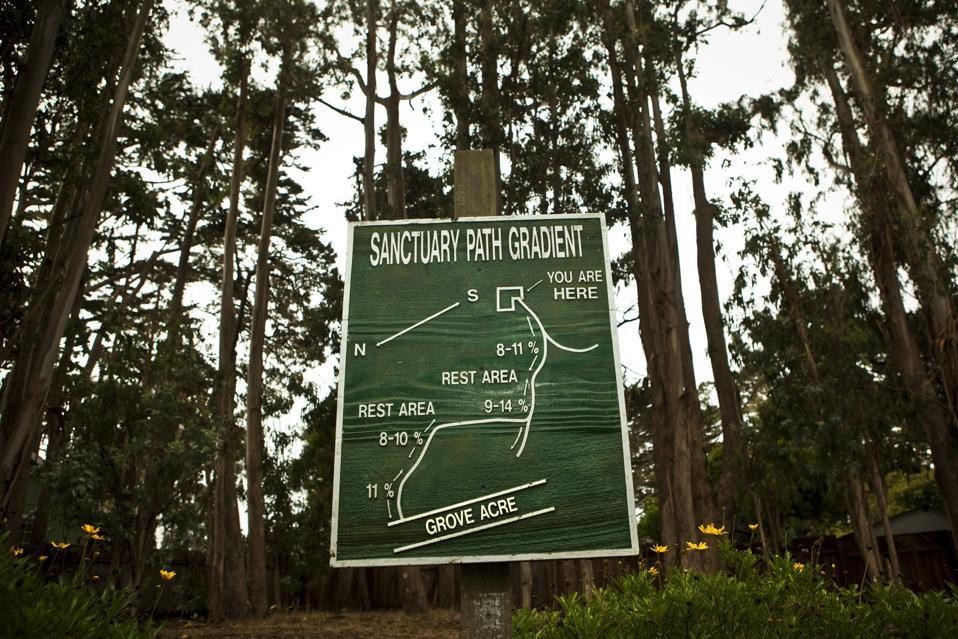 A map in the Monarch Grove Sanctuary in Pacific Grove, Ca.