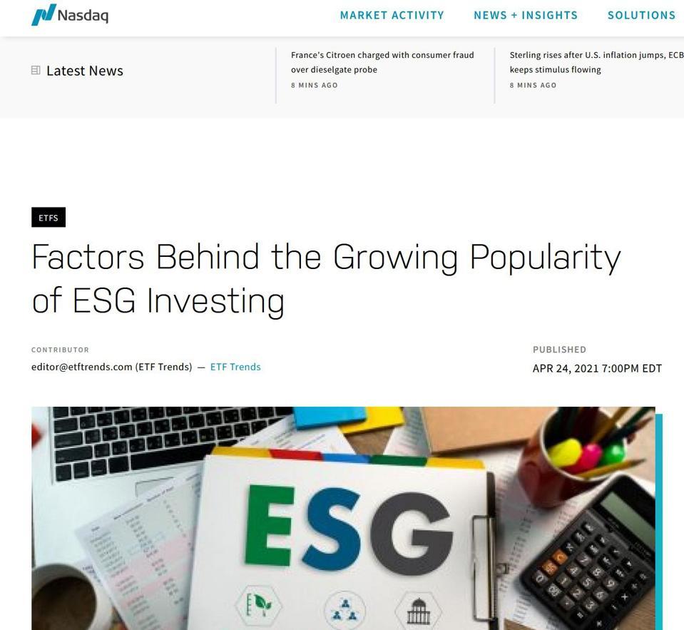 Screen shot from Nasdaq.com on ESG popularity
