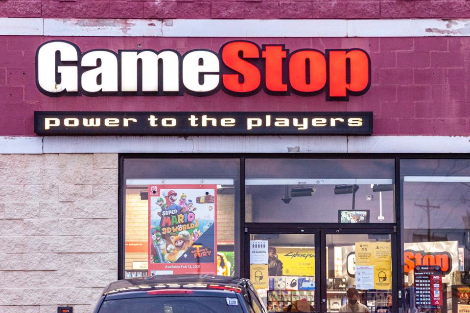 GameStop logo is seen at one of its stores in Athens, Ohio.