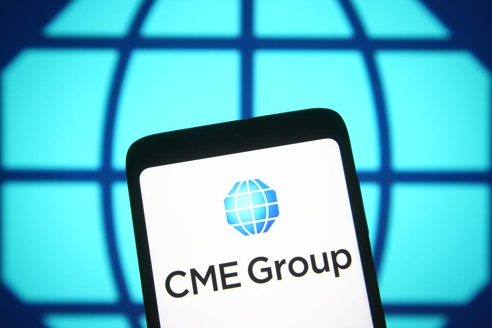 In this photo illustration the CME Group (Chicago Mercantile...