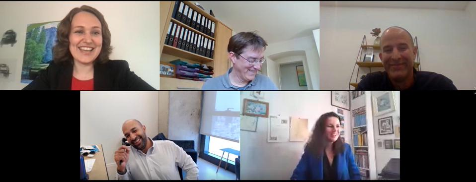 Five executives in an online meeting