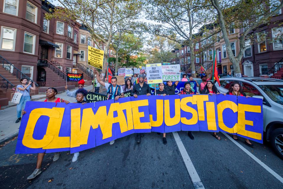 Front of the march. Activist group Earth Strike NYC...