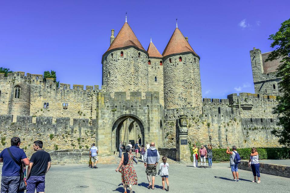 The Narbonnaise gate where visitors enter Carcassonne.