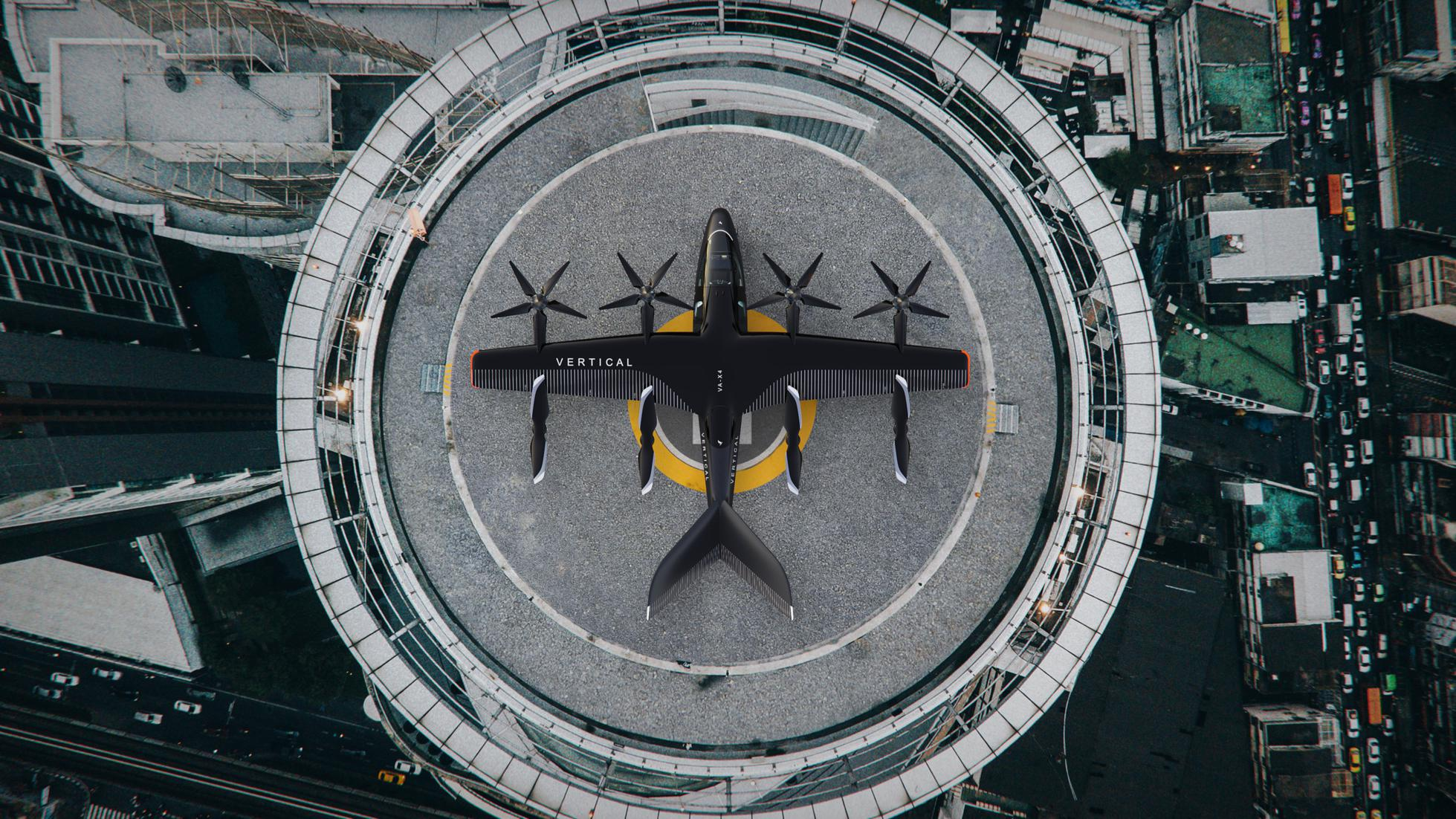 The eVTOL aircraft on its vertical launch pad.