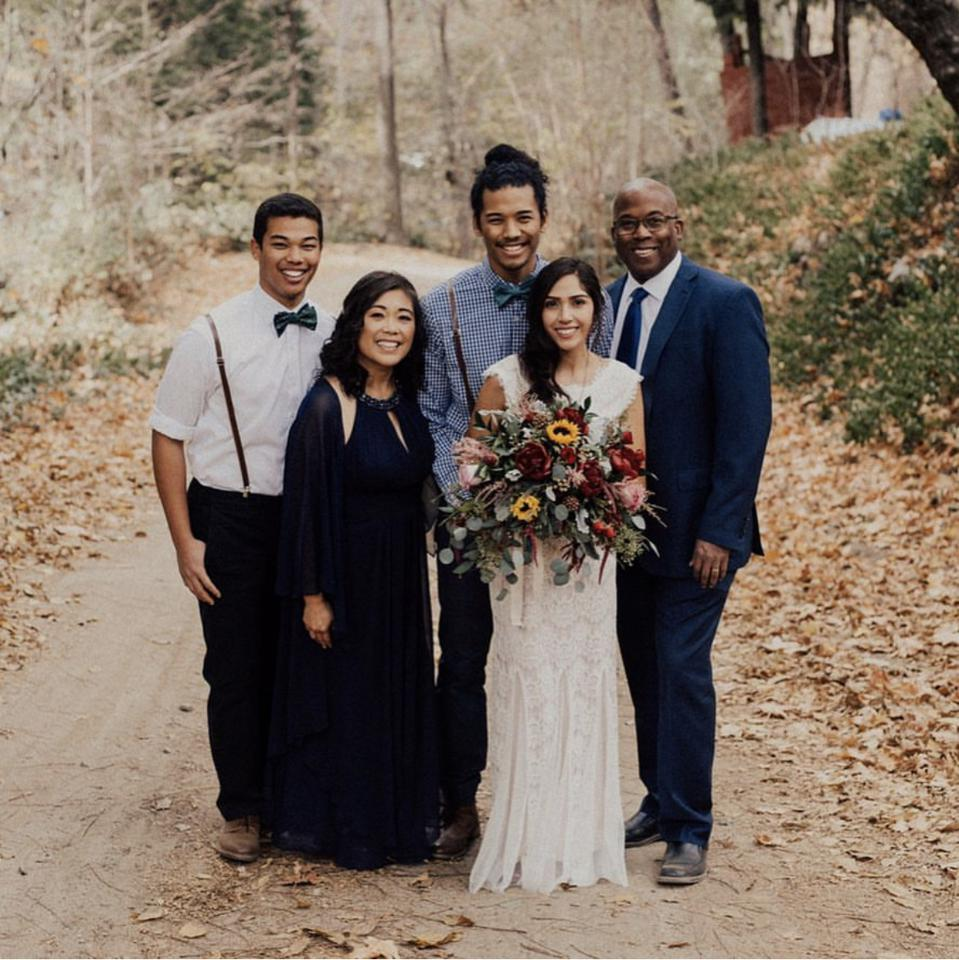 David Ryan Barcega Castro-Harris with his wife, father, mother and brother on his wedding day.
