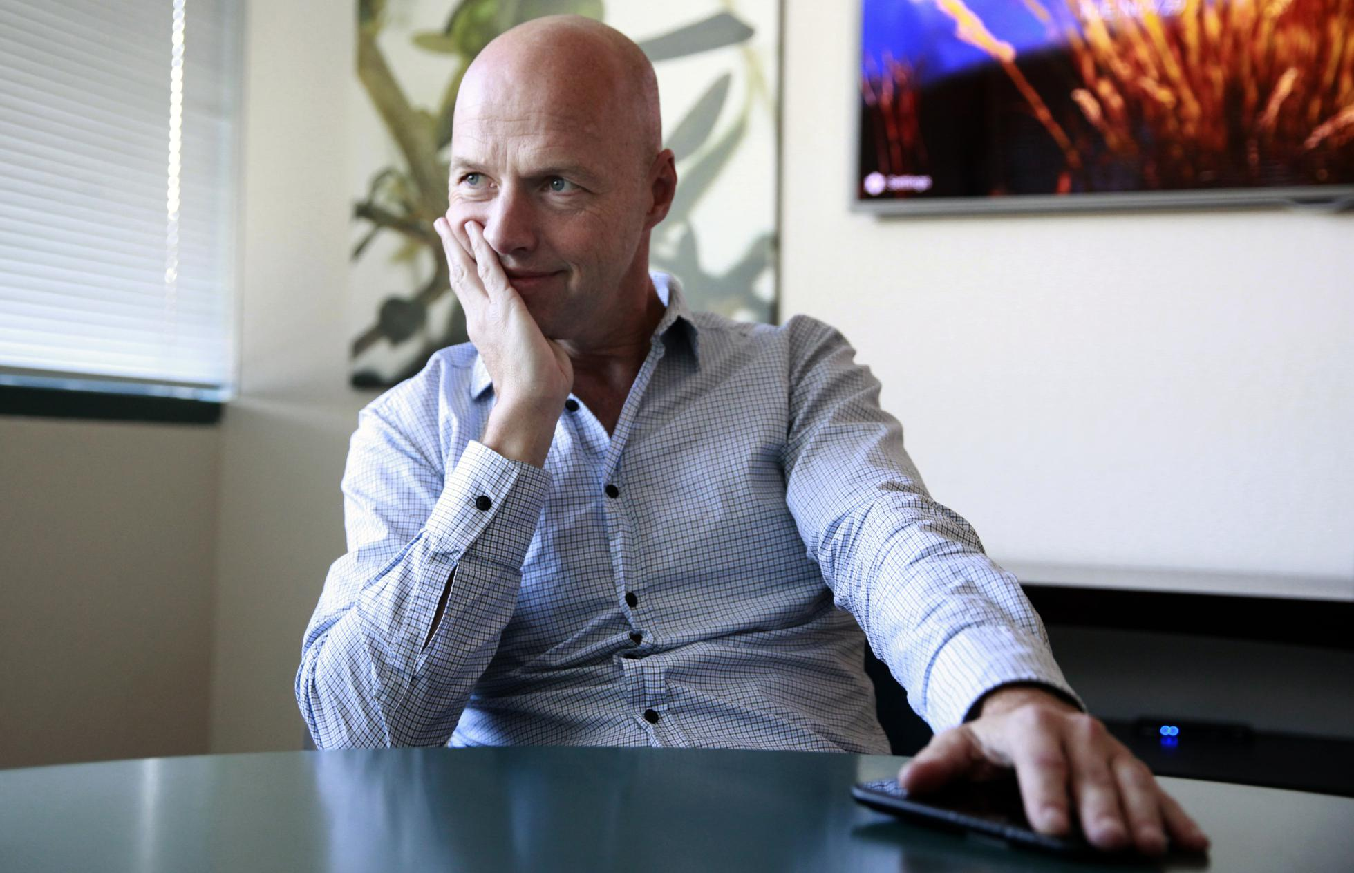 Sebastian Thrun, a pioneer of self-driving technology is the founder of Udacity an online learning company that offers nano degrees to prepare students for technology jobs, is seen at their headquarters in Mountain View,, California on Tuesday November 29