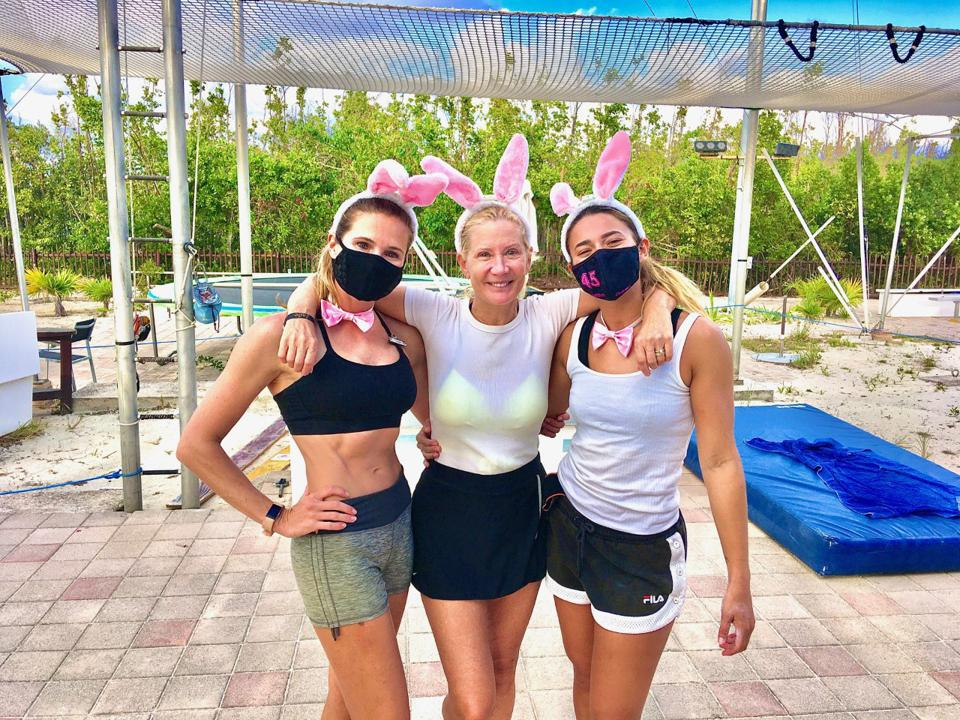 Debbi and two trapeze artists
