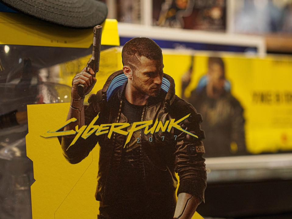Promotional materials Cyberpunk 2077 in the store seen...