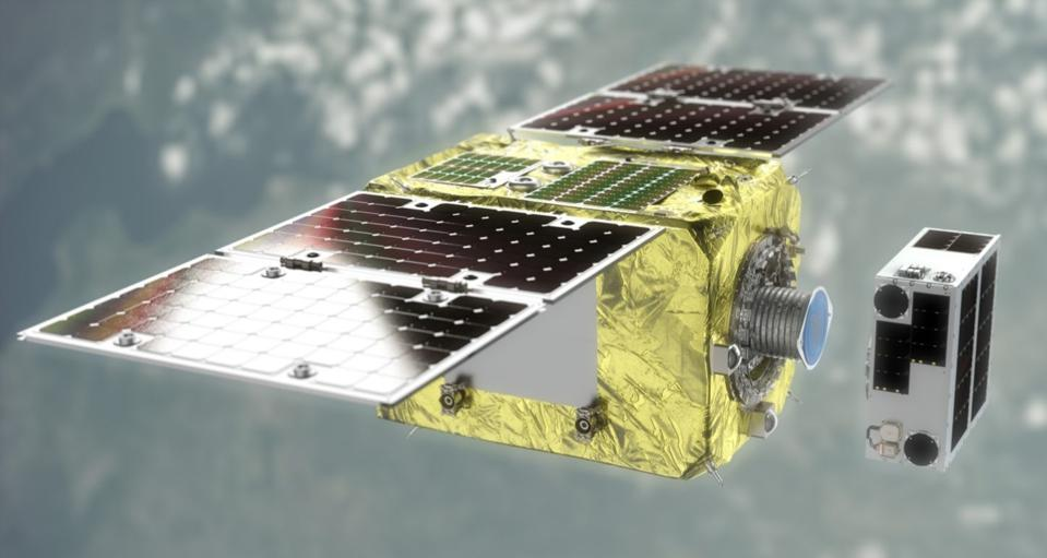 Astroscale's recently-launched ELSA-d LEO space junk/space satellite removal spacecraft.