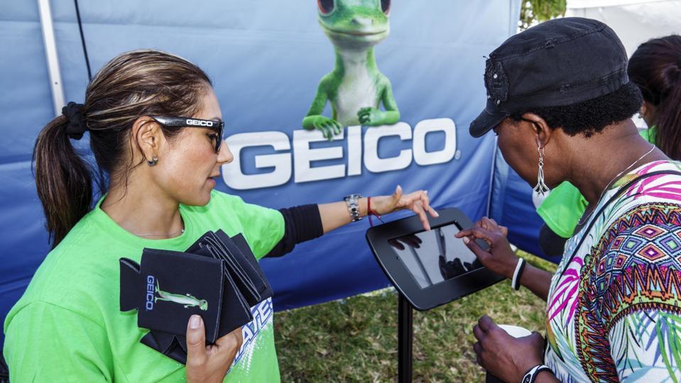 Florida, Miami Beach, Art Deco Weekend Street Fair, Geico Insurance Survey Kiosk