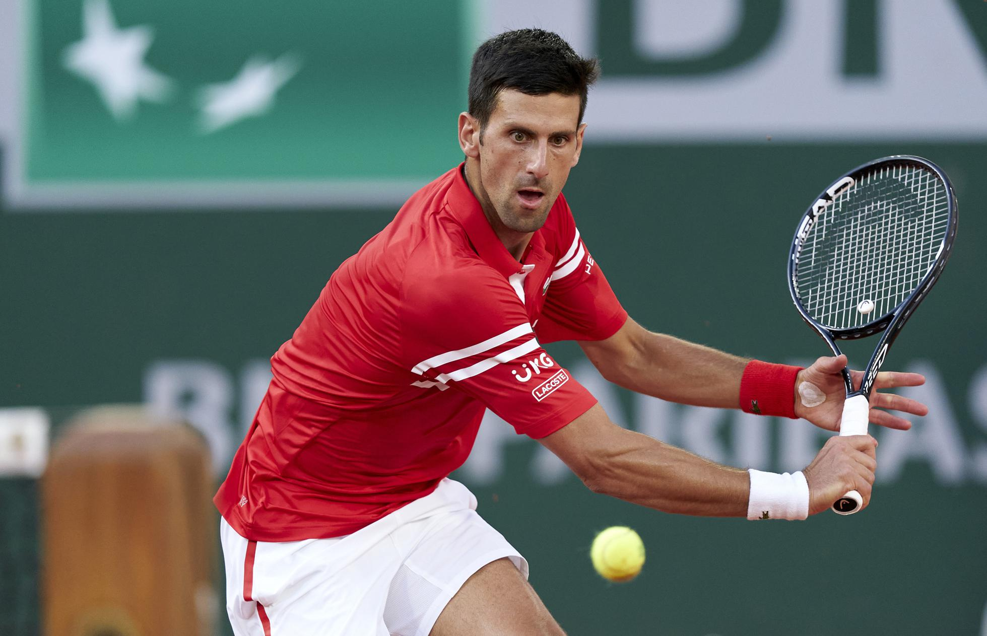 Novak Djokovic during his French Open semifinal victory over Rafael Nadal on Friday.