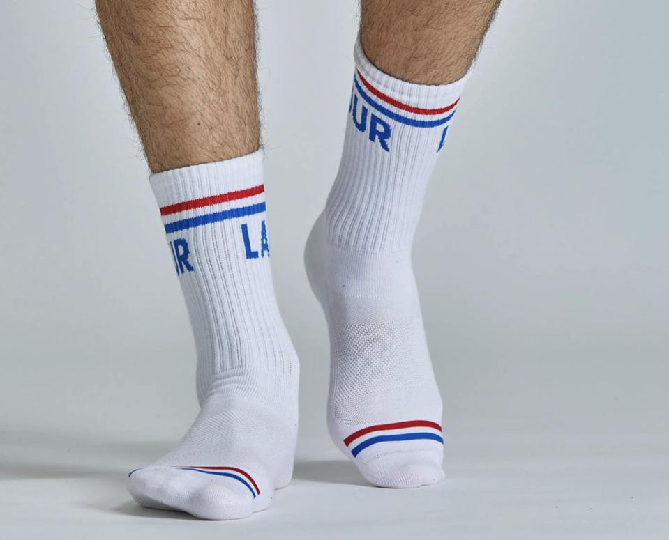 socks in blue and red