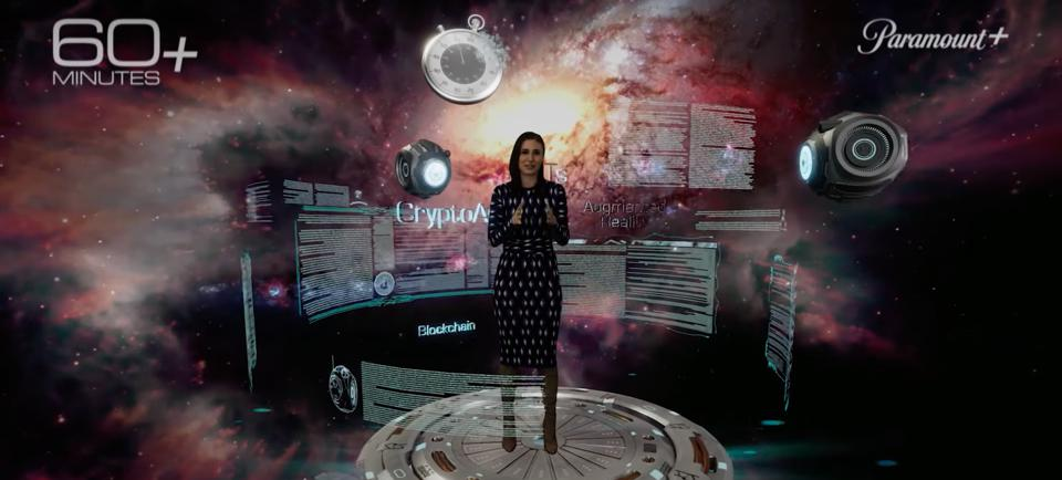 avatar of laurie segall, cathy hackl. 60 minutes metaverse