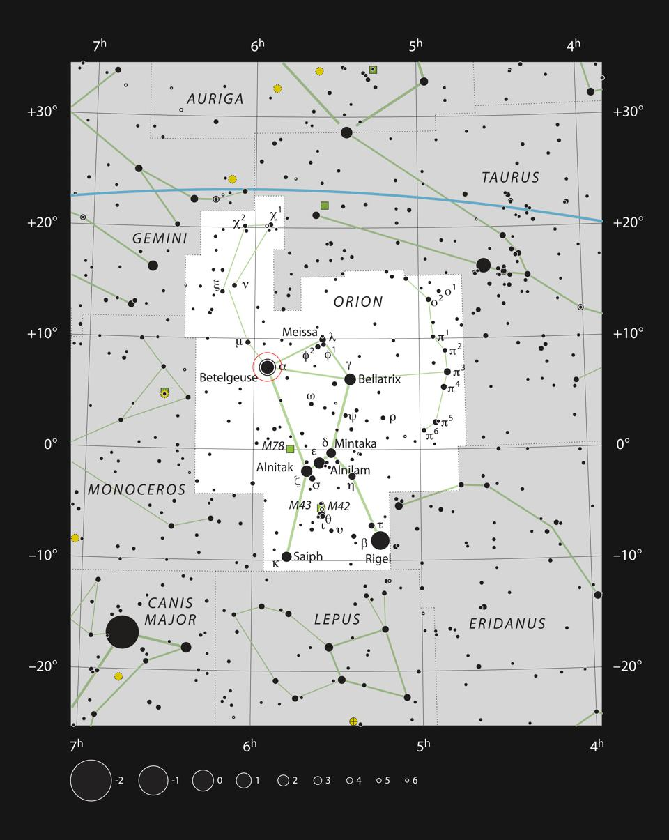 This chart shows the location of the very bright red supergiant star Betelgeuse (Alpha Orionis) in the famous constellation of Orion (The Hunter). This map shows most of the stars visible to the unaided eye under good conditions and the star itself is marked with a red circle. Although the star itself is clearly visible to the unaided eye, the nebula around it cannot be seen visually with any telescope.