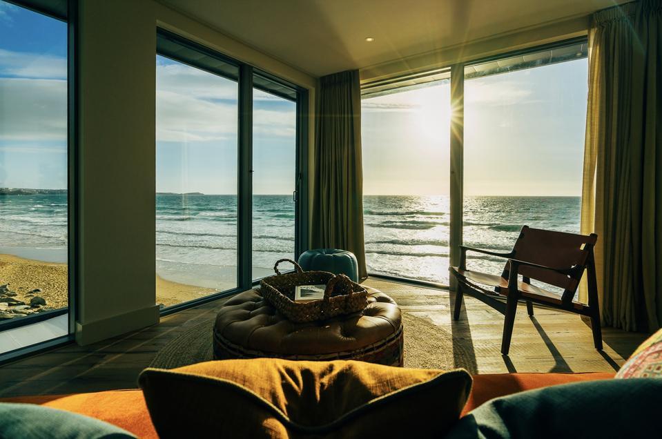 Sea views from a beach loft at the Watergate Bay Hotel.