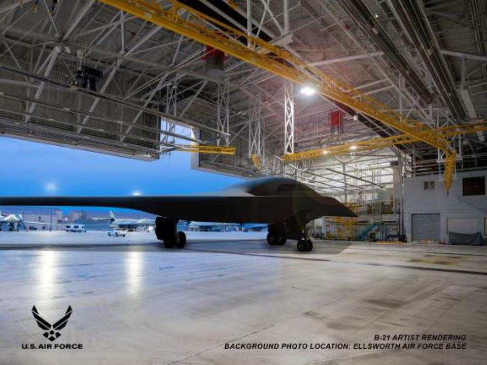 B-21 bomber in a hangar.