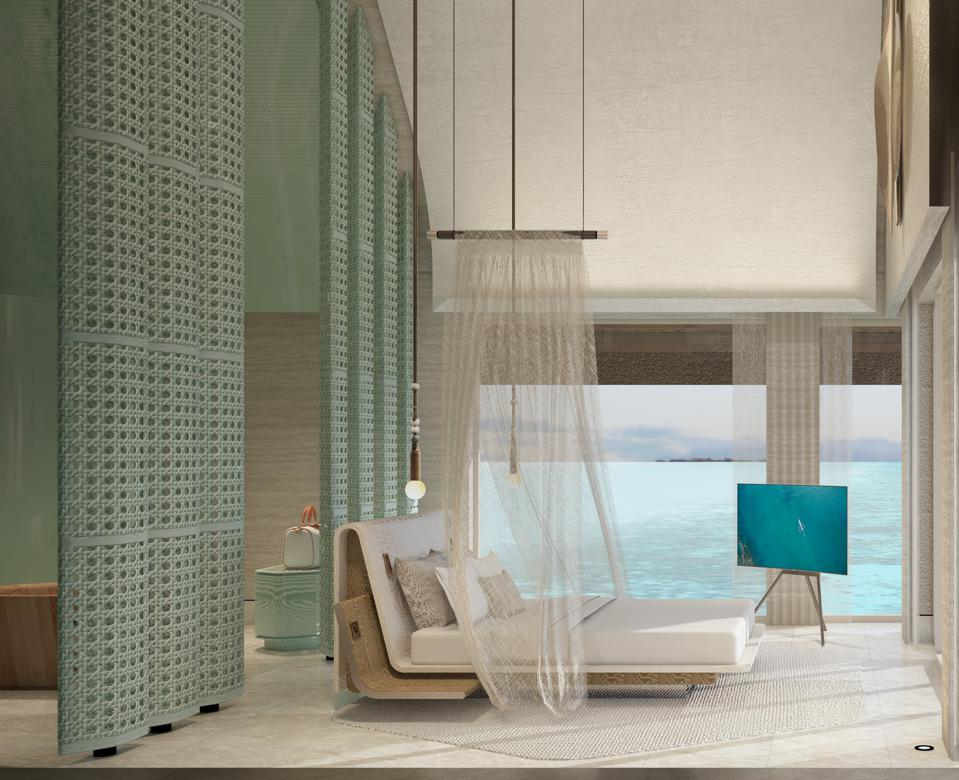 Inside the four bedroom water residence at Joali Being.