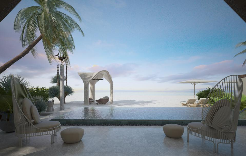A glimpse of the outlook from Joali Being's two-bedroom beach villa.