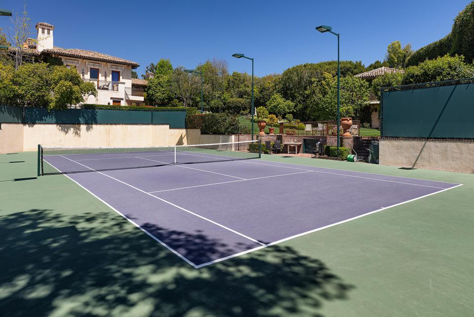 lighted tennis court at sugar ray house