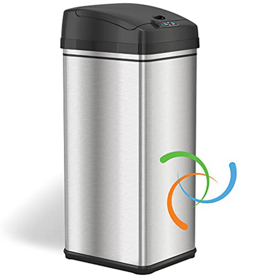 iTouchless 13 Gallon Automatic Trash Can with Odor-Absorbing Filter and Lid Lock.