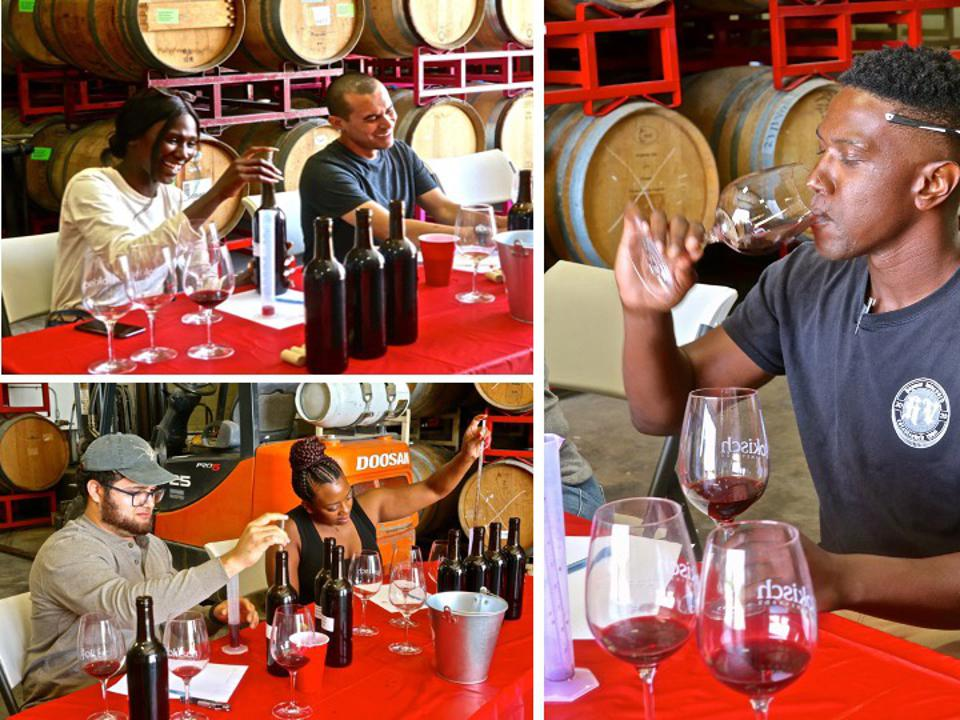 A photo montage of five people blending and tasting wine at Bokisch Vineyards, Lodi, CA