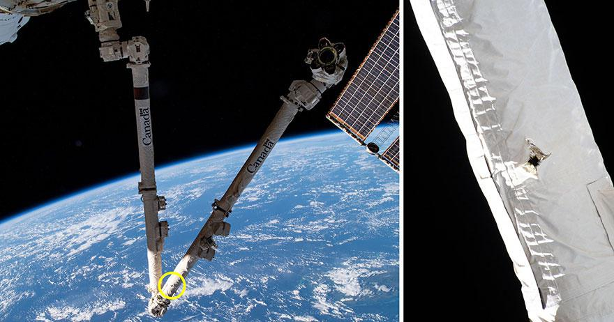 This photo shows the damage to the International Space Station's robotic arm by space debris.