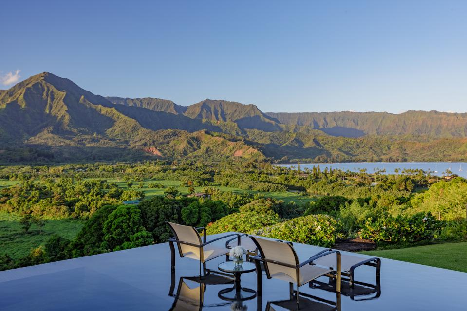 saltwater infinity pool at luxury hawaii home 5121 Hanalei Plantation Road, Kauai