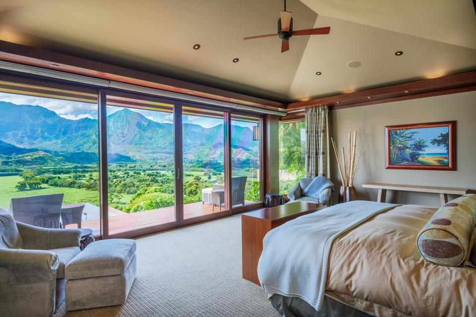 bedroom inside a luxury hawaii home at 5121 Hanalei Plantation Road, Kauai