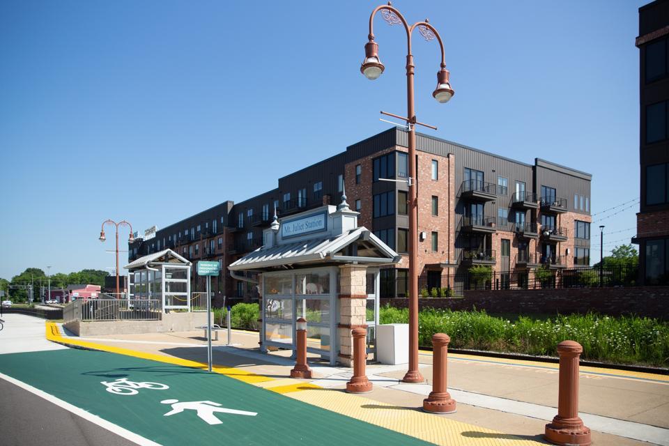 Train station near apartments