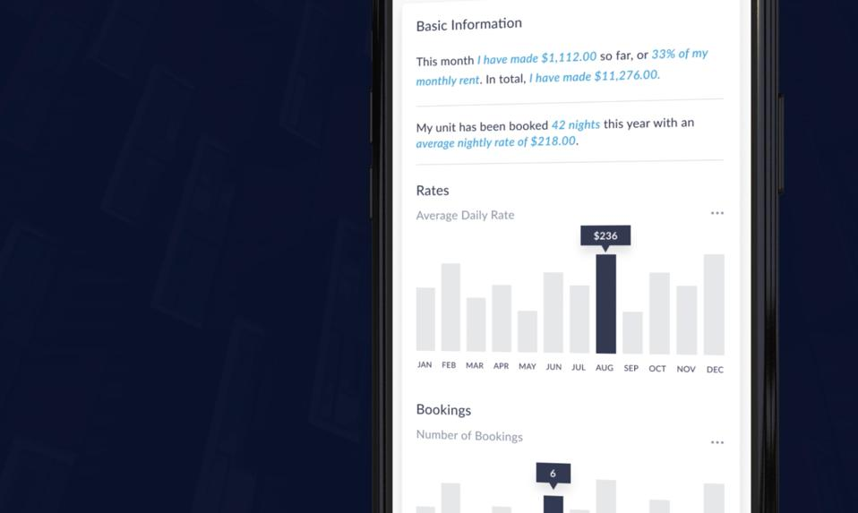 screen shot of the Migo app showing tenant earnings