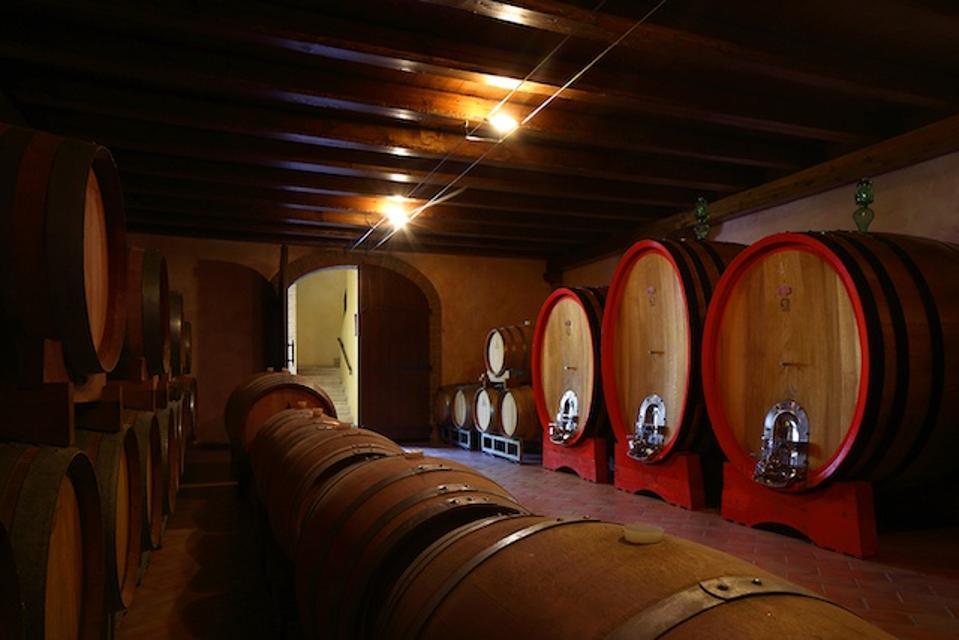 The wine cellar at Ai Galli Winery
