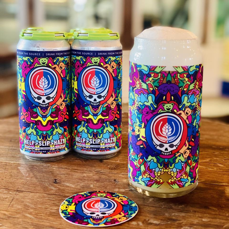 Source Farmhouse Brewery's Grateful Dead themed release comes with a custom pint glass, sticker, and a four-pack of beer.