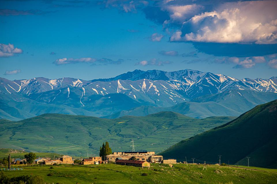 View of a Village at the foot of a Mountain in Vayots Dzor Province, Armenia