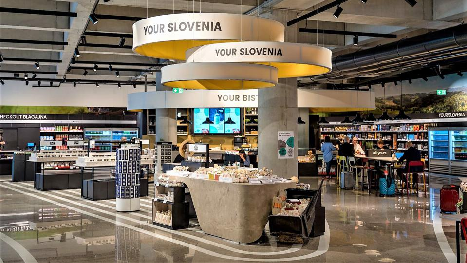 A mixed retail offer includes food and beverage at Ljubljana Airport, Slovenia.