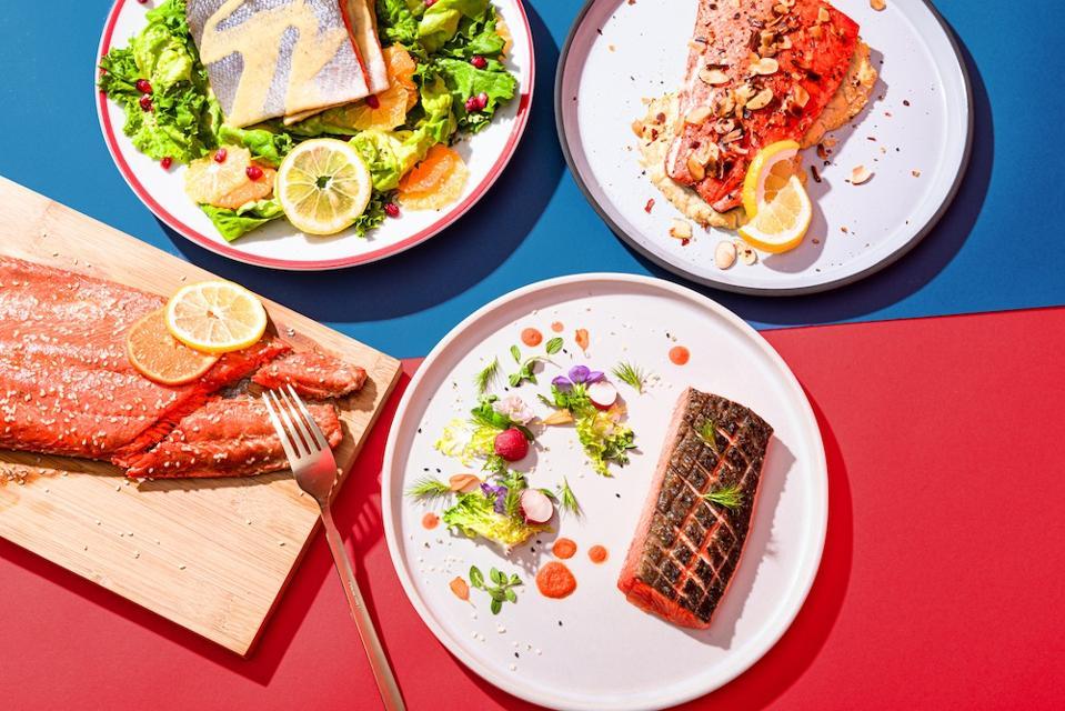 Dishes featuring wild Alaskan salmon.