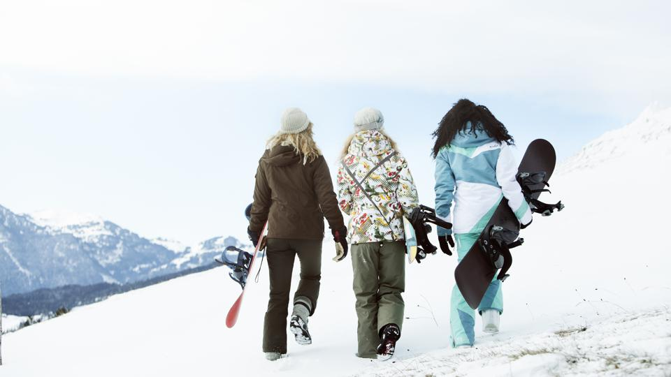 3 young women on winter holiday