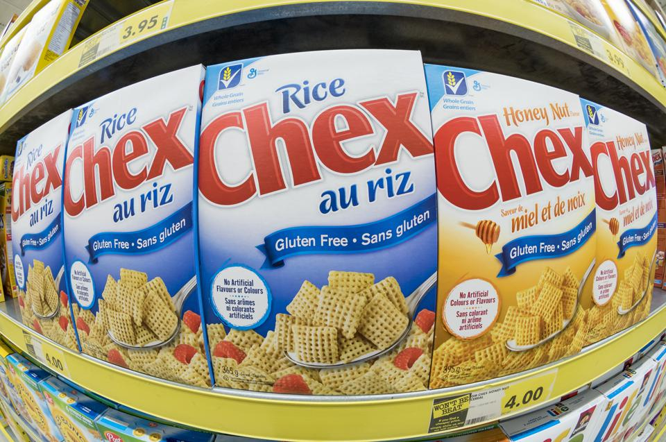 General Mills rice cereal: CHEX brand in store shelf.