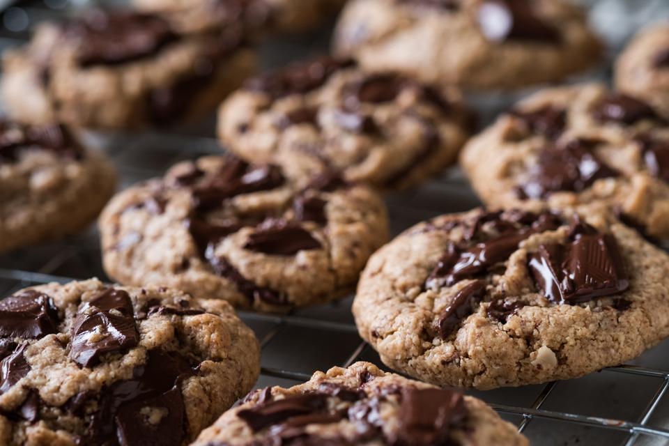 chewy chocolate, chocolate chunk cookies