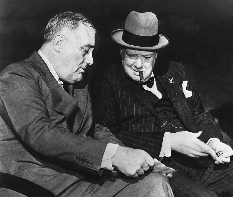 Churchill and Roosevelt Discussing Germany's Surrender Terms
