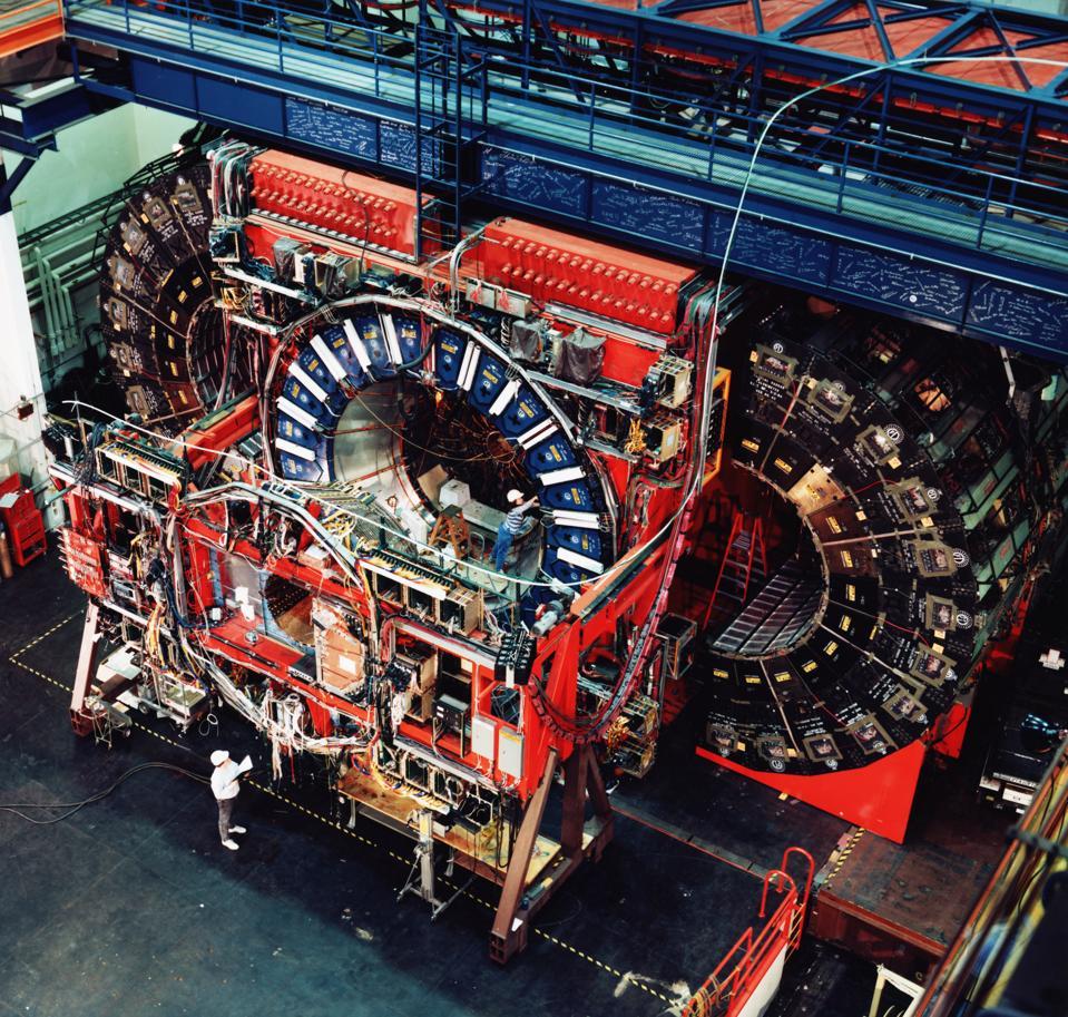 Technicians Work on Collider Detector