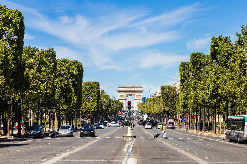 The famous Champs Elysees avenue in Paris