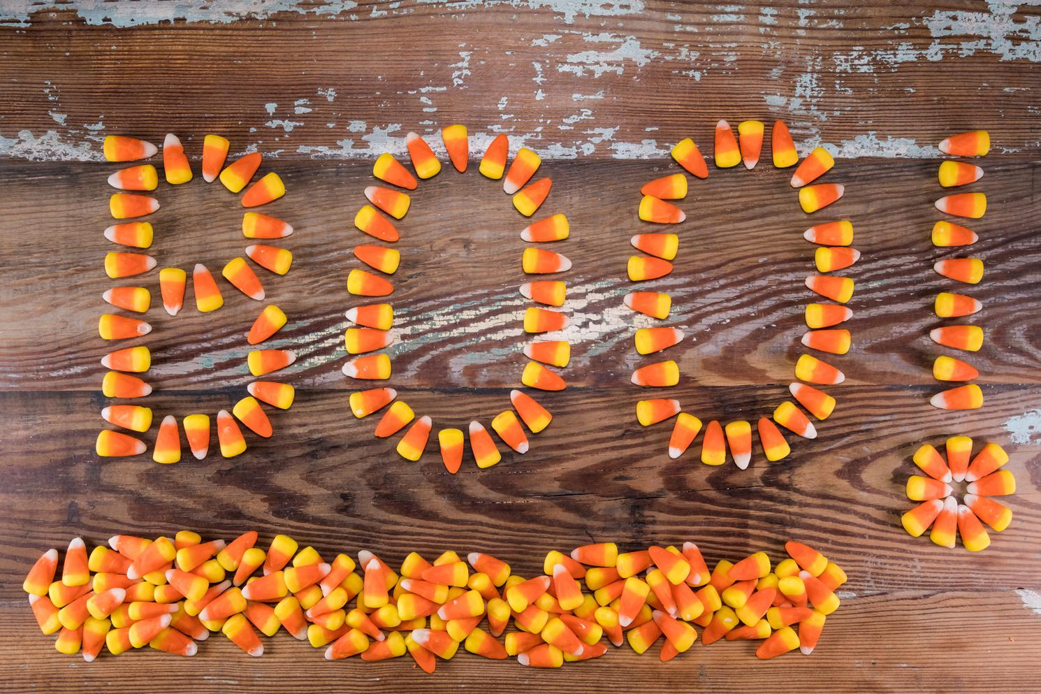 Candy Corn Boo! With Pile Below