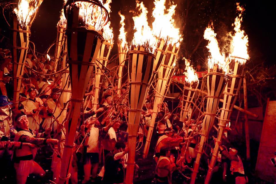 Kurama Fire Festival Celebrated In Kyoto
