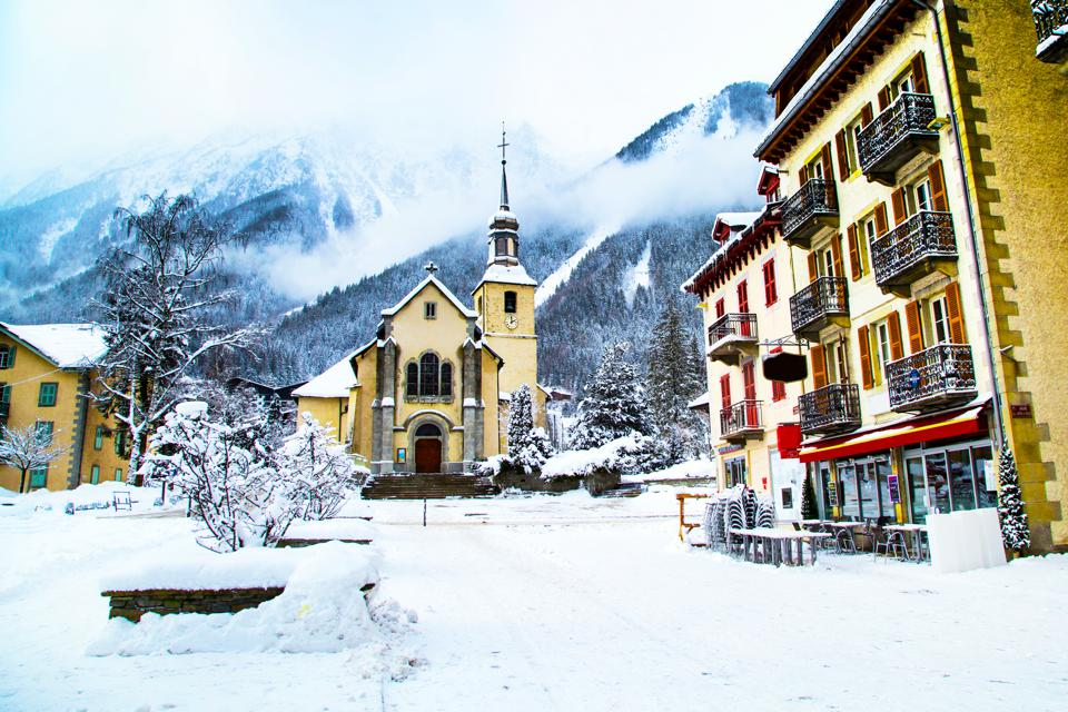 Church in Chamonix town, France, French Alps, part of street