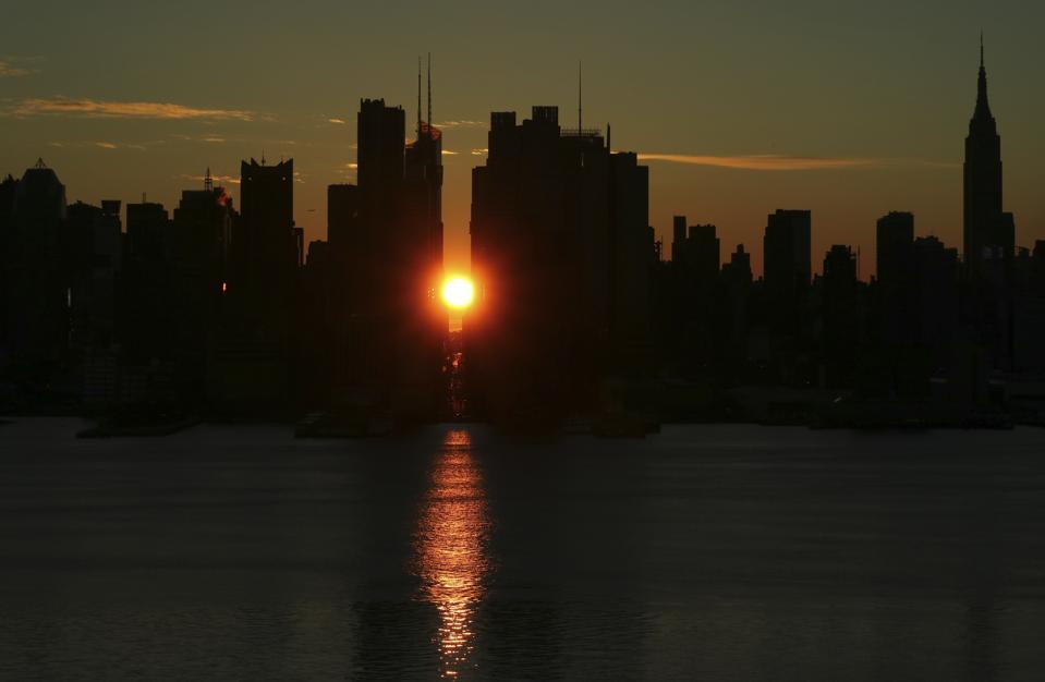 Sunrise above 42nd Street in New York City