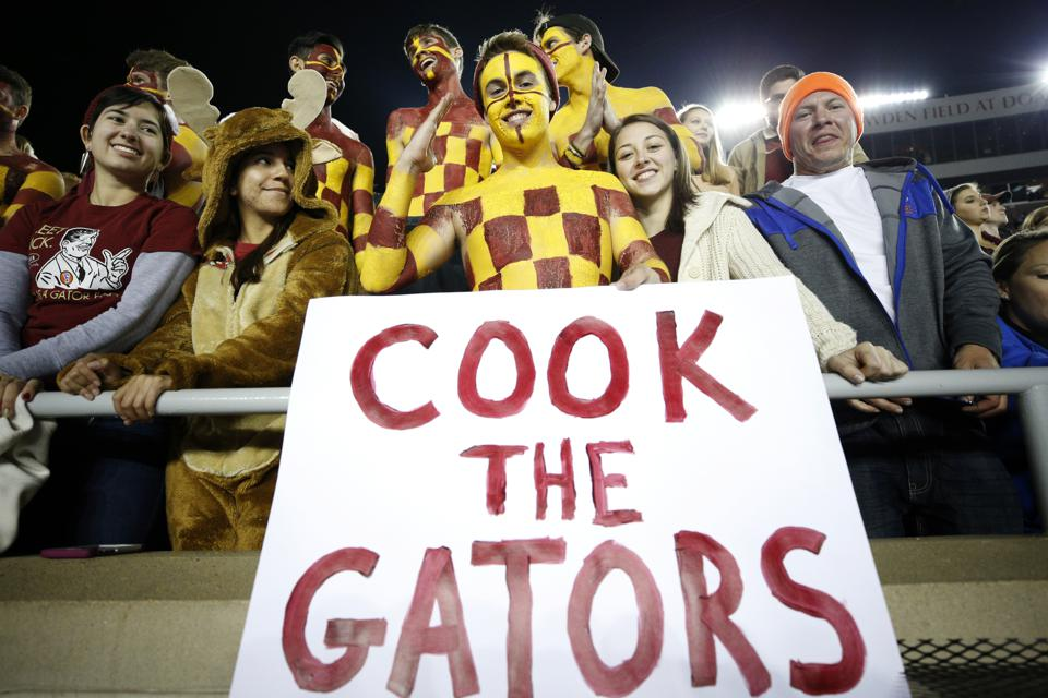 Florida State Seminole fans during a game against the Florida Gators at Doak Campbell Stadium.