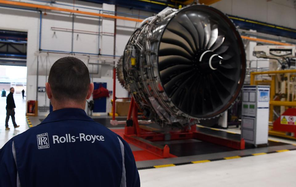 Rolls Royce Trent XWB engines on view on the assembly line at the Rolls Royce factory in Derby, central England on November 30, 2016. (Photo credit: PAUL ELLIS/AFP/Getty Images)